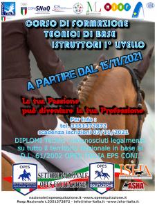 Corso di Formazione per Istruttori e Tecnici di Base equitazione Inglese @ I.S.H.A. Sede